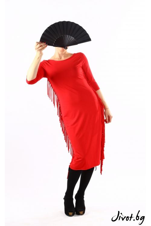 Шикозна червена рокля с декоративни ресни от трико / VЯRA за MUSE SHOP