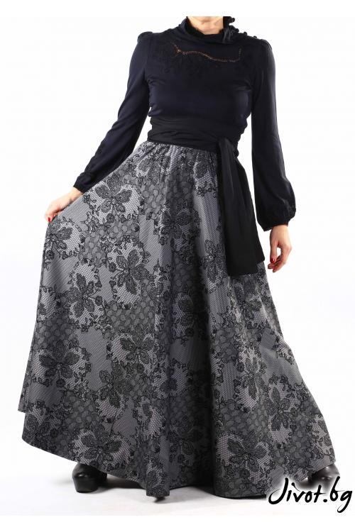 Дълга дамска пола от плътен памук / VERNE