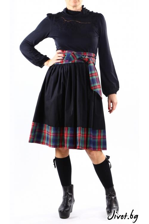 Черна дамска пола с бордюр на каре и скрити джобове / VERNE