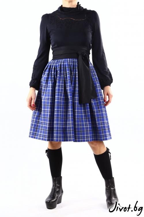 Синя дамска пола с богат набор и черен колан / Свeтла Ангелова за MUSE SHOP