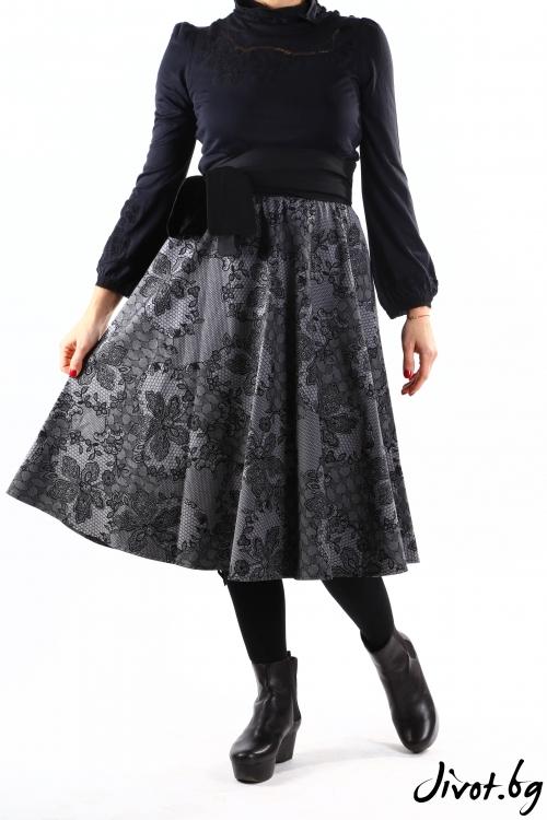 Елегантна сива дамска пола от плътен памук с имитация на дантела / VERNE
