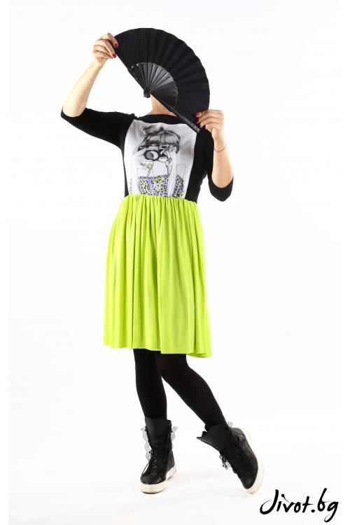 Закачлива рокля в черно и зелено със щампа/ VЯRA за MUSE SHOP