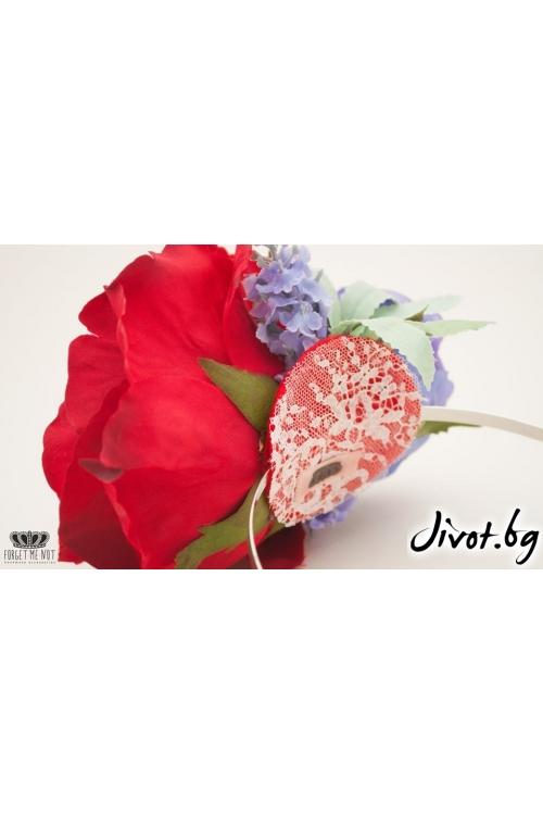 Разкошна детска диадема с рози и лавандула/Forget-me-not