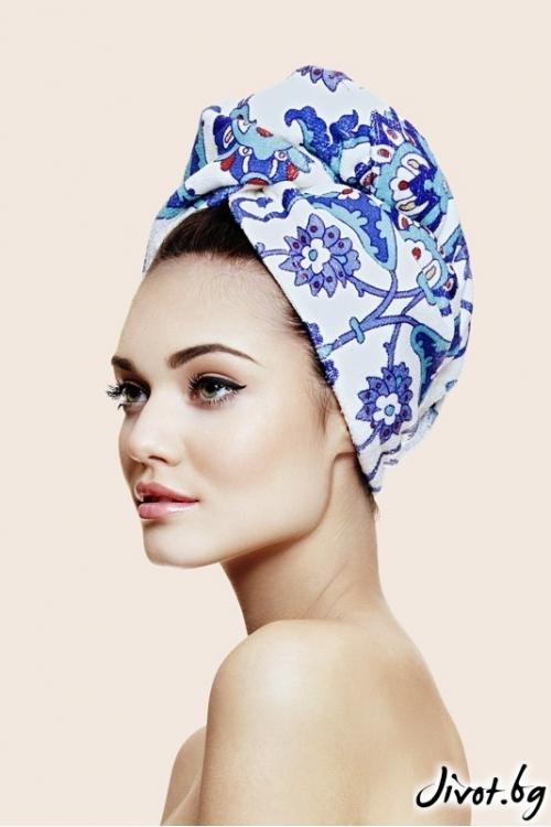 Памучна кърпа за коса TURQUOISE / Aglique