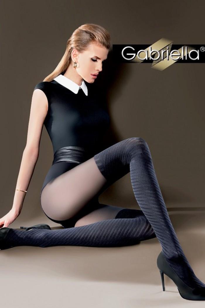 Уникален дамски фигурален чорапогащник с комбинация от черно и графит Gabriella TIDA / 355
