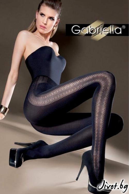 Черен плътен чорапогащник с хоризонтална плетеница Gabriella INGA / 352