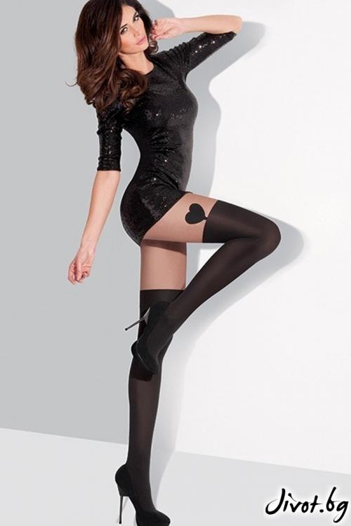 Ефектен дамски чорапогащник с имитация на плътен чорап украсен със сърце Gabriella AVILA / 184