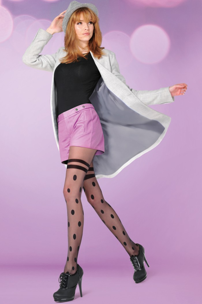 Фин дамски чорапогащник с имитация на чорапи на точки Gabriella DOTTY / 320