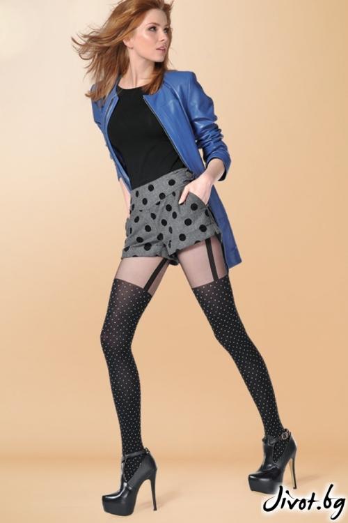 Фигурален чорапогащник с имитация на жартиери украсен с точки Gabriella SALLY / 394