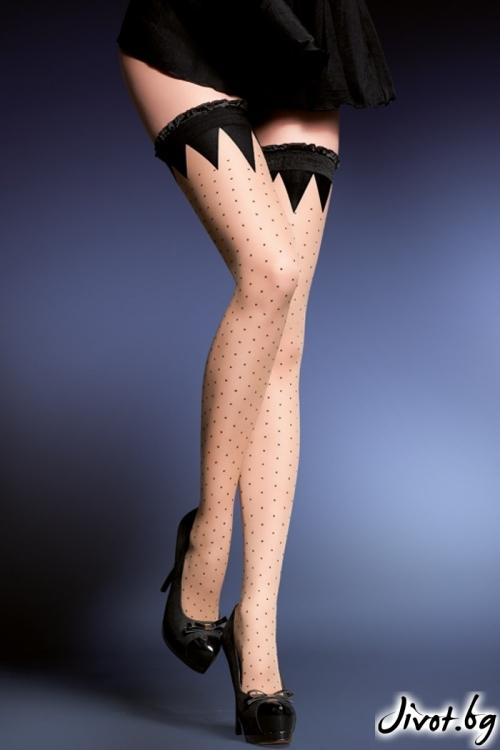Силиконови дамски чорапи на точки 20 DEN / KARA / 433