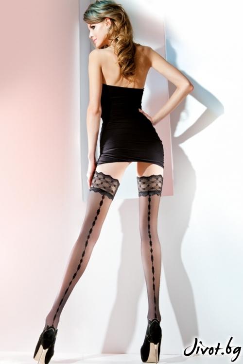 Черни дамски силиконови чорапи с 9 см дантела / MERYL / 224