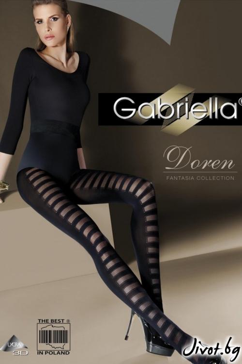 Дамски черни фигурални чорапогащи Gabriella / DOREN 333