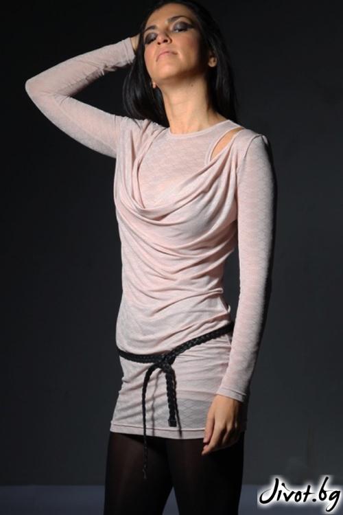 Комплект блуза с потник в нежен цвят / Модна къща АМБИЦИЯ