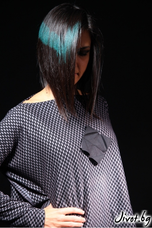 Дамска блуза с оригами от трико / Модна къща АМБИЦИЯ