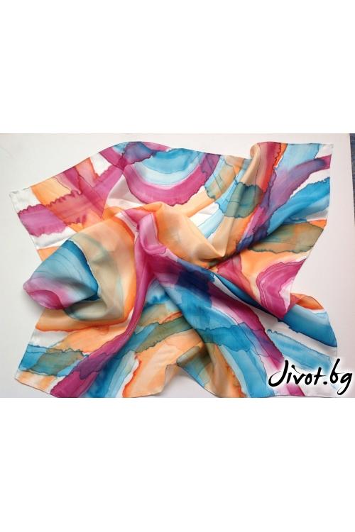 "Ръчно рисуван дамски шал ""Дъга"" / Décollage"