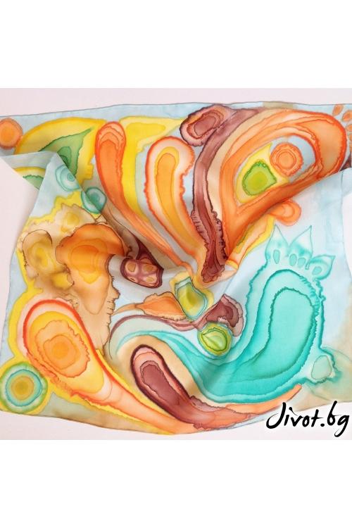 """Копринен ръчно рисуван дамски шал """"Есенни краски"""" / Décollage"""