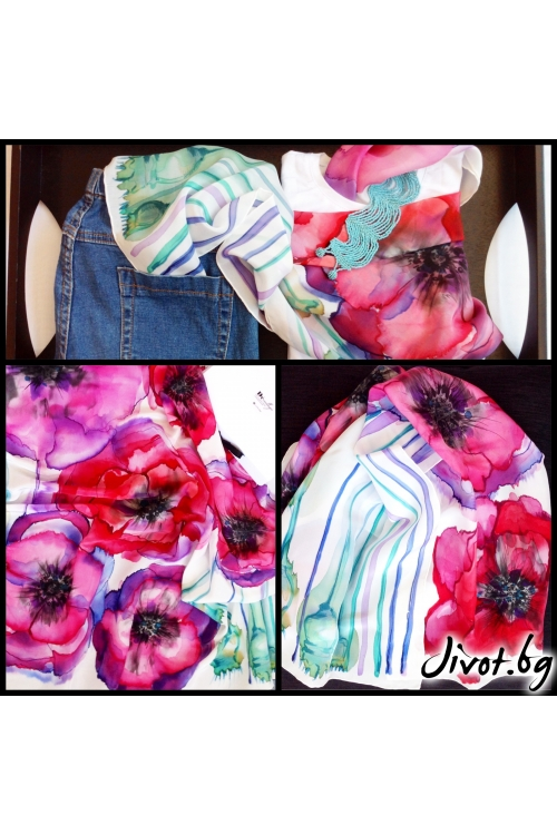 "Копринен ръчно рисуван дамски шал ""Макове"" / Décollage"