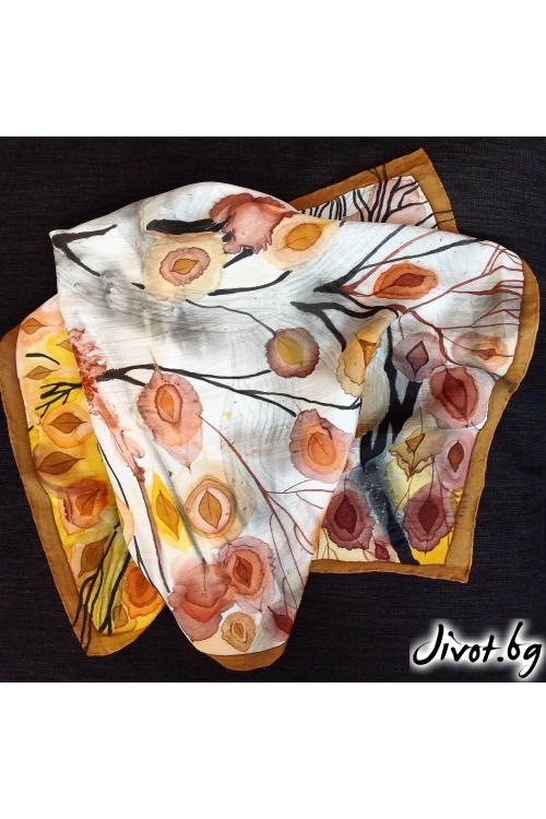 "Дамски ръчно изработен копринен шал ""Златна есен""/ Décollage"