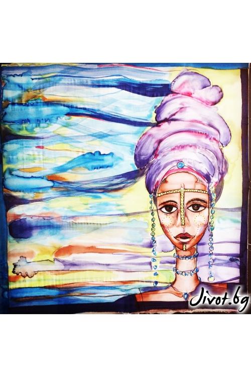"""Ръчно рисуван дамски копринен шал """"Африканката""""/ Décollage"""