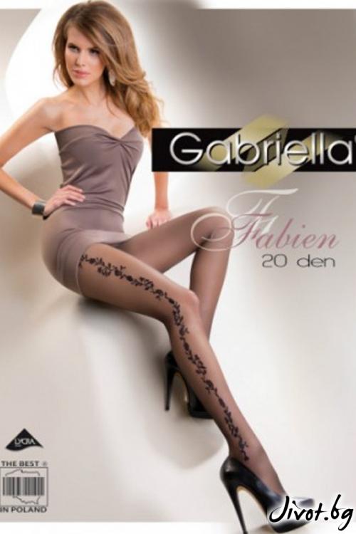 Дамски черни чорапогащи с флорални фигури Gabriella / FABIEN / 284