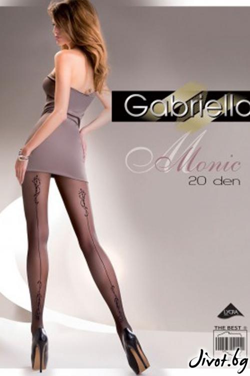 Елегантен дамски фигурален черен чорапогащник Gabriella / MONIC