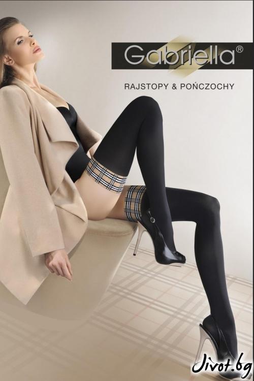 Черни дамски чорапи със силиконова лента / BERRY / 198