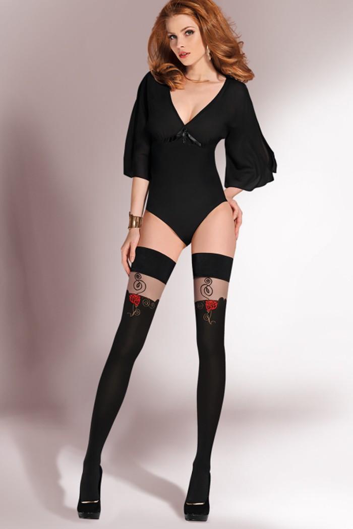 Силиконови черни чорапи със широка дантела и декорация от червени рози Gabriella ROSA / 303
