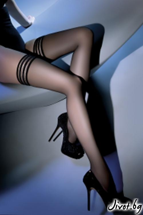 Дамски дълги чорапи със силиконова лента LUX