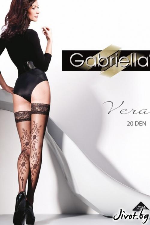 Дамски чорапи с дантела и красива декорация 20DEN Gabriella VERA / 207