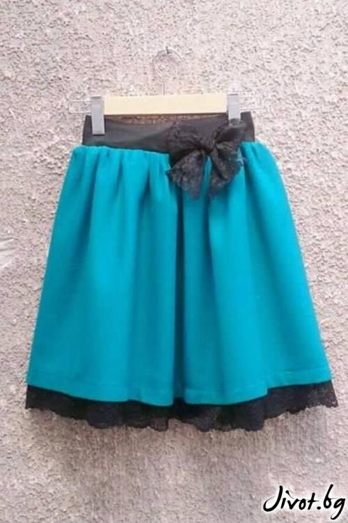 Тюркоазена пола с ластик на талията и бордюр от дантела / Cherie Marie