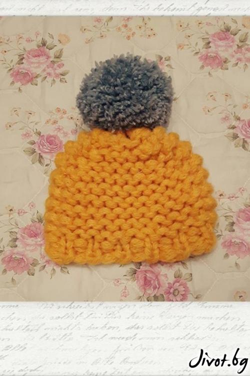 Дамска плетена шапка в жълто и сиво / Cherie Marie