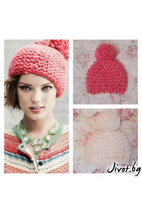 Красива дамска шапка с голям помпон в цикламен цвят / Cherie Marie
