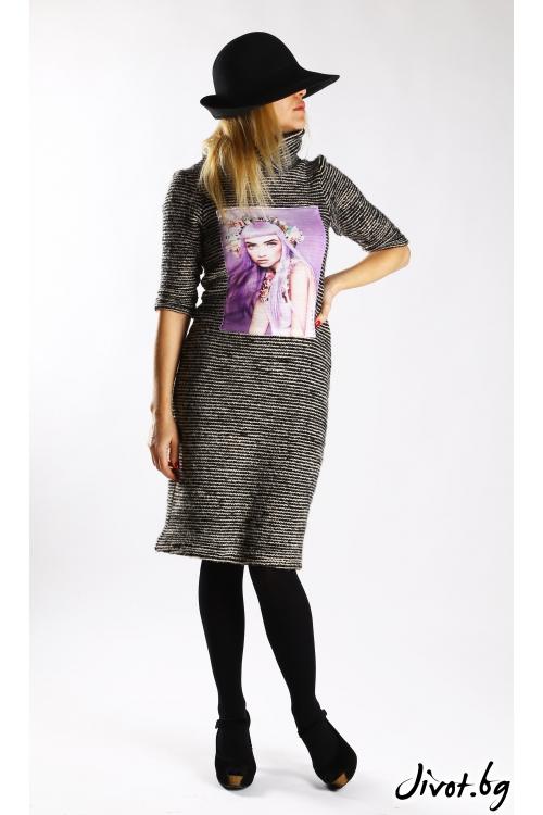 Вълнена рокля със щампа и три-четвърти ръкави / VЯRA за MUSE SHOP