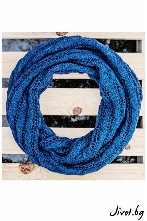 Богат син шал с плетеница / MAMURI Handmade studio