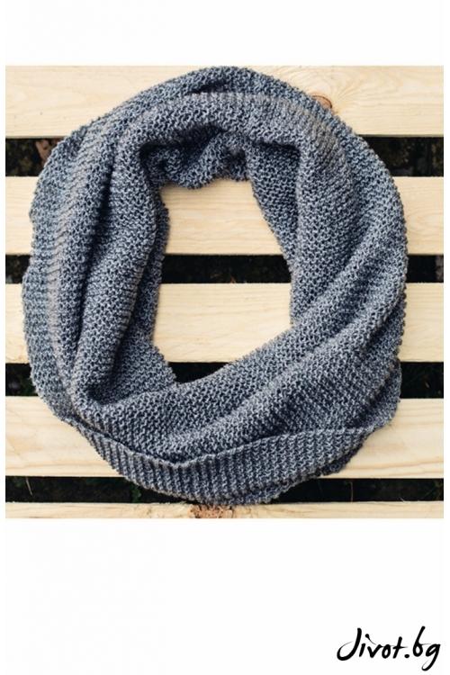 Тъмно сив, ръчно плетен шал / MAMURI Handmade studio