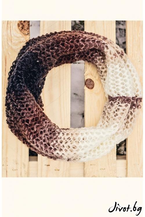 Ръчно плетен шал меланж в бежово и кафяво / MAMURI Handmade studio