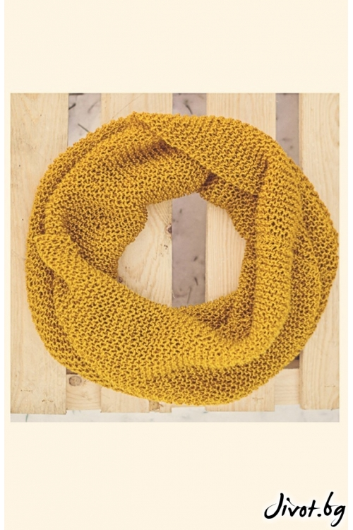 Ефектен и красив шал в цвят горчица / MAMURI Handmade studio
