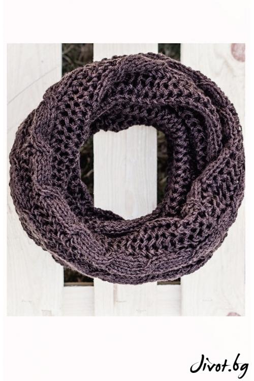 Шоколадово кафяв шал с плетеница / MAMURI Handmade studio