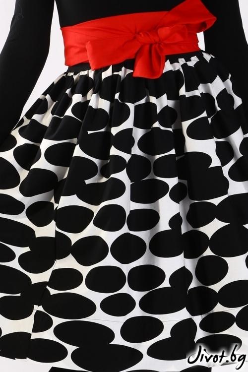 Елегантна пола в черно и бяло с красив червен колан / Свeтла Ангелова за MUSE SHOP