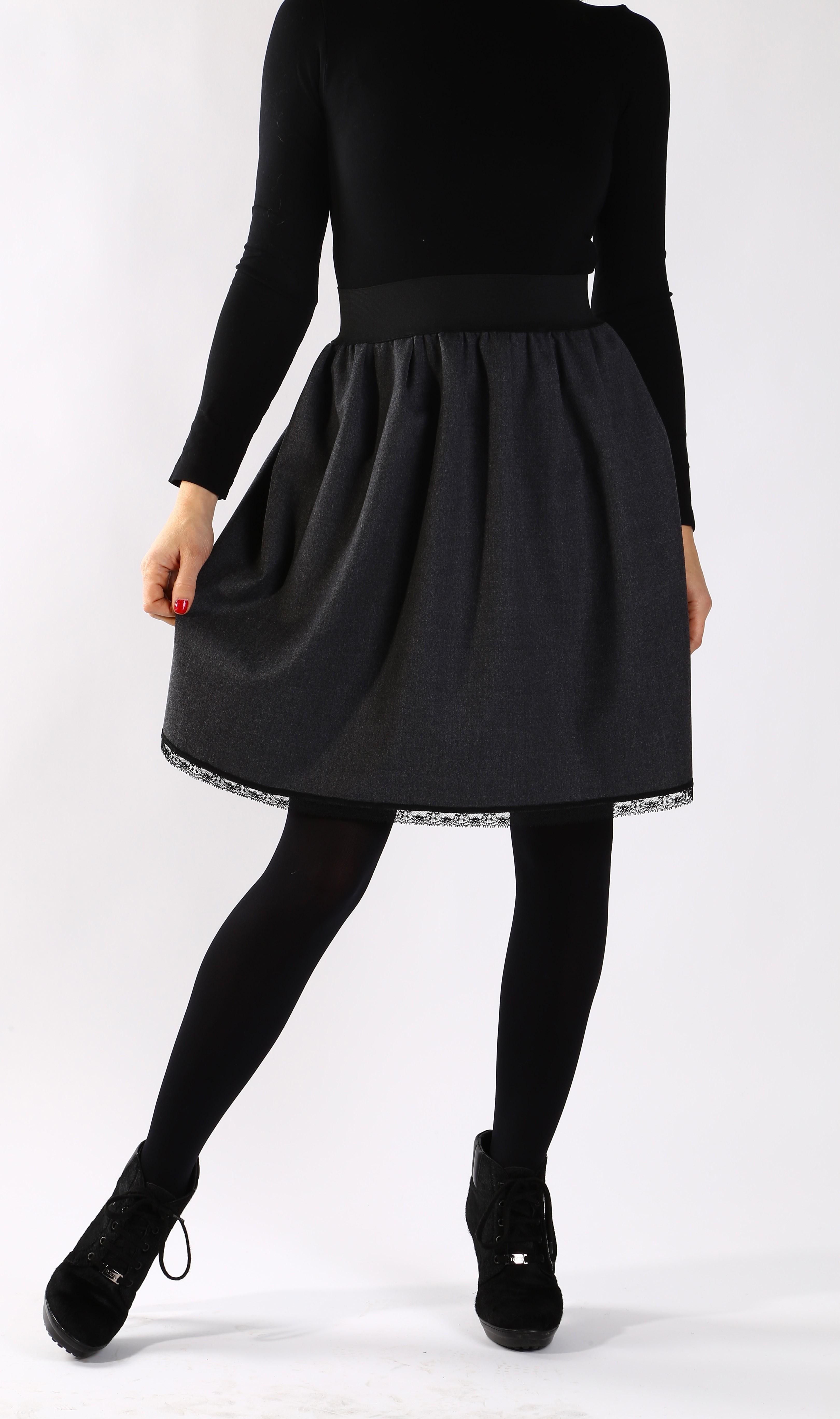 Красива сива вълнена пола с мека черна дантела / Свeтла Ангелова за MUSE SHOP