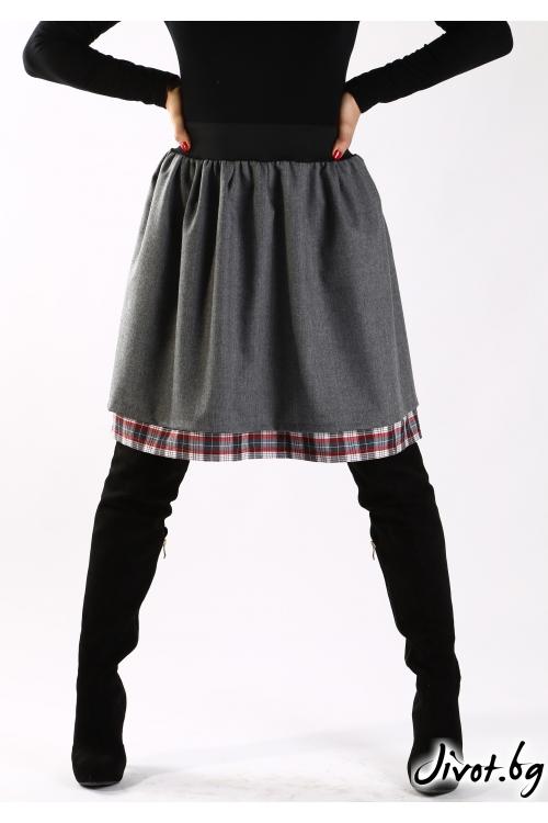 Сива пола от сурова вълна с комбинация от памучно каре / Свeтла Ангелова за MUSE SHOP