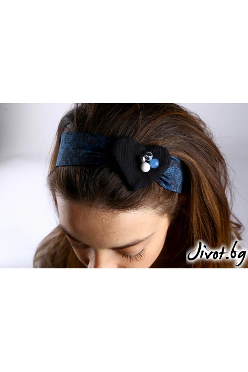 Аксесоар за коса, ръка или чанта със сатенена синя лента