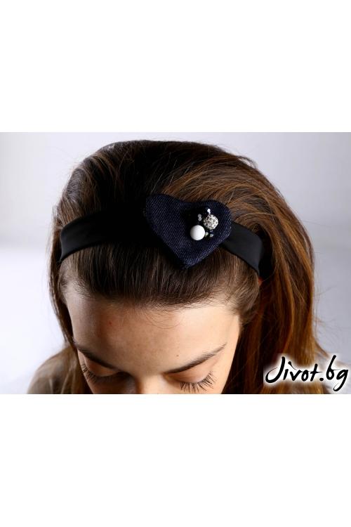 Аксесоар за коса, ръка или чанта от деним с черна лента