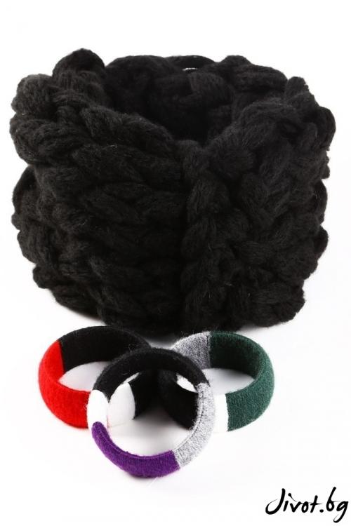 Черен дамски шал ръчно плетен в комплект ас гривна / Joanna Palankova