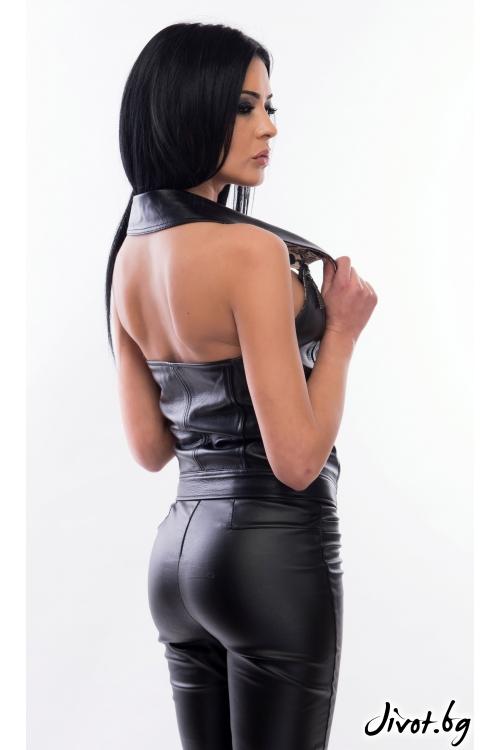 Дамски топ от релефна кожа / MyMagenta