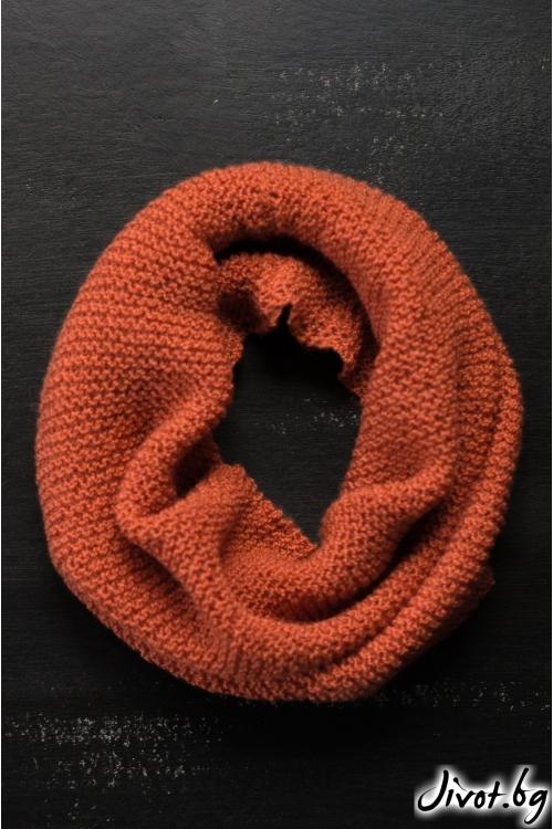 Шал яка ръчно плетен в цвят брик / MAMURI Handmade studio