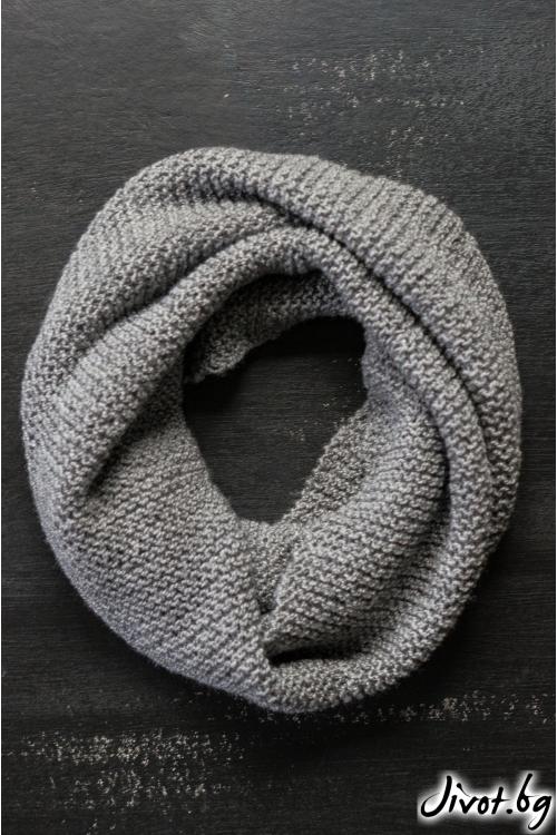 Тъмно сив шал яка, ръчно плетен / MAMURI Handmade studio