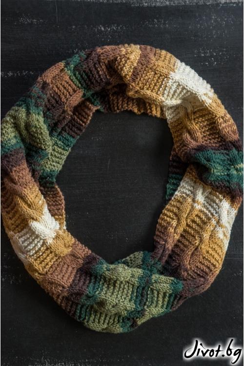Многоцветен ръчноплетен шал яка / MAMURI Handmade studio
