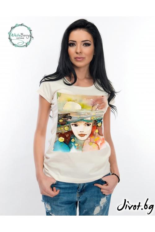 Дамска тениска с къс ръкав от 100% органичен памук / WhiteBerry
