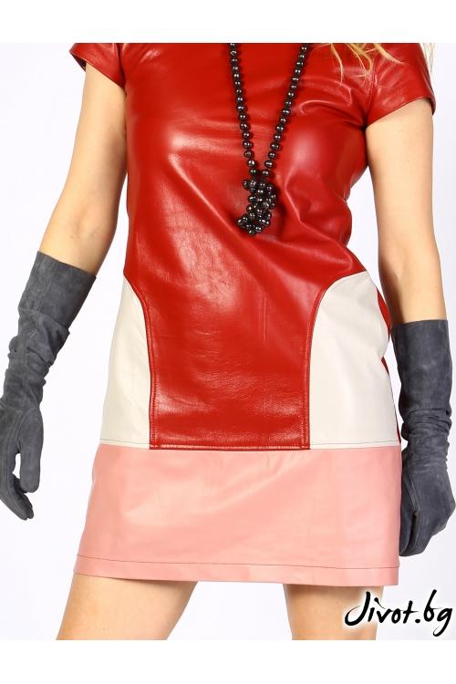 Червена рокля от естествена кожа с цип / MyMagenta